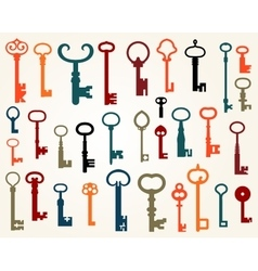 Set of old keys vector