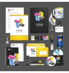 Corporate identity template color company style vector