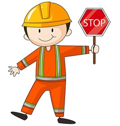 Construction worker holding stop sign vector