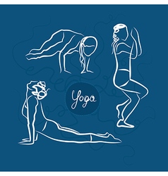 Set of yoga poses blue background vector