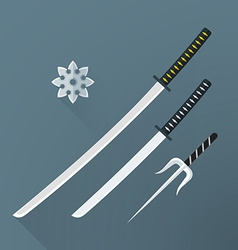 Flat samurai weapon set icon vector