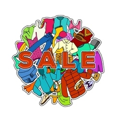 Sale season doodle cloth collection vector