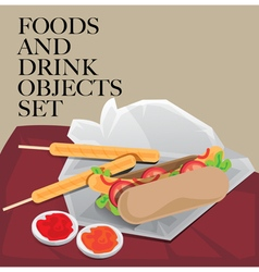 Food drink set hotdog vector