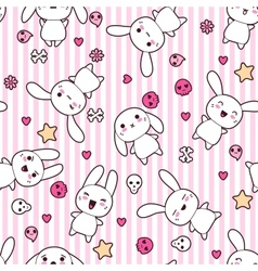 Rabbit doodle cartoon pattern vector