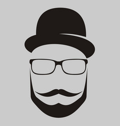 A man in a hat with a mustache glasses and a vector