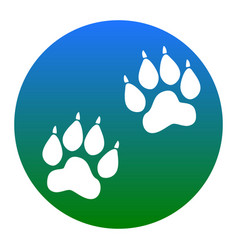 Animal tracks sign white icon in bluish vector