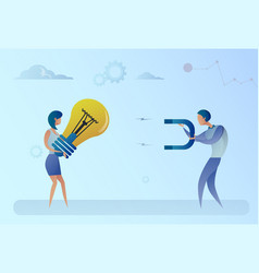 Business man stealing light bulb idea from woman vector