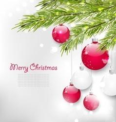 Christmas lighten card with fir branches vector