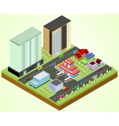 City block with hospital vector image vector image