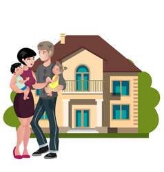 couple standing outside new home vector image vector image