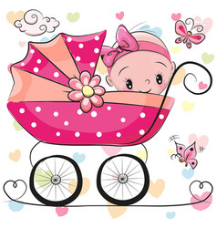 Cute cartoon baby girl is sitting on a carriage vector