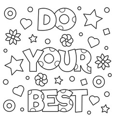 do your best coloring page vector image vector image