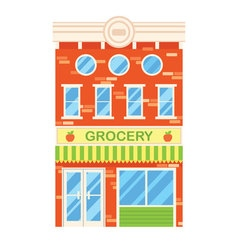 Facade of retro building with grocery shop vector