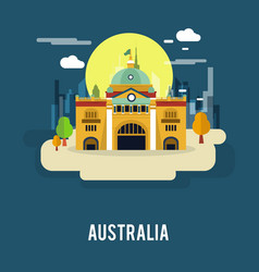 Flinders street railway station australia design vector