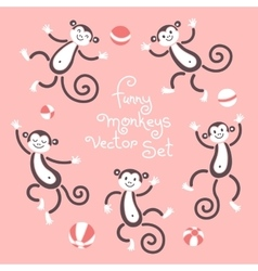 Funny monkeys isolated set of vector image