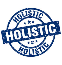 Holistic blue round grunge stamp vector