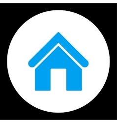 Home flat blue and white colors round button vector image