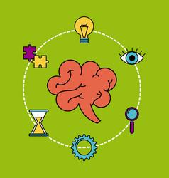 human brain creativity ideas business think vector image