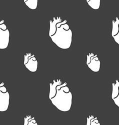 Human heart sign Seamless pattern on a gray vector image vector image