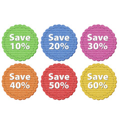 Label templates with different amount of discounts vector
