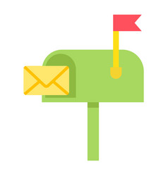 Mailbox flat icon letter and website vector
