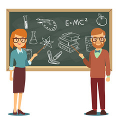 male and female teachers standing in front of vector image vector image