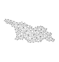Map of georgia from polygonal black lines and dots vector