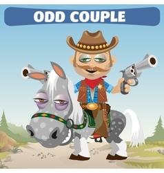 Odd couple cowboy rider and horse vector