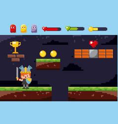 pixel game world warrior sword shield trophy coins vector image