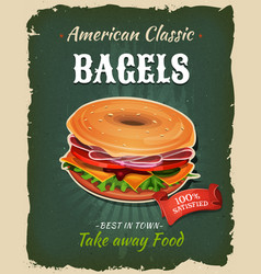 retro fast food bagel poster vector image