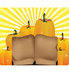 Ripe pumpkins and the old book vector