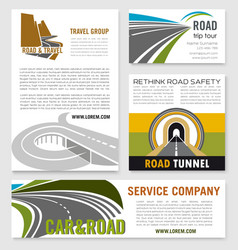 Road travel company business templates set vector