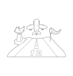 Runway icon outline style vector image vector image