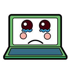 Sad laptop kawaii icon image vector