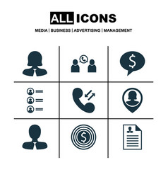 Set of 9 hr icons includes business deal vector