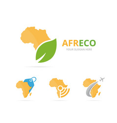 set of africa logo combination safari and eco vector image vector image
