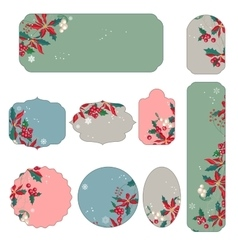 Set of different Christmas stickers vector image vector image