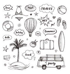 Set of hand drawn travel doodle tourism vector