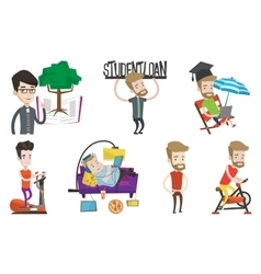 set of student and sport characters vector image vector image
