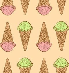 Sketch icecream cone in vintage style vector image