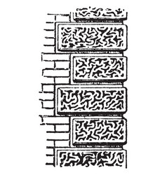 Vermiculated masonry grooves vintage engraving vector