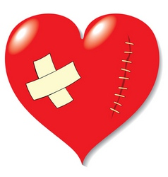 Wound on heart from love vector