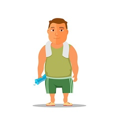 Cartoon guy after work out with towel and water vector