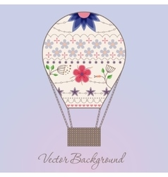 Background with air balloon vintage vector