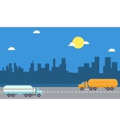 Road tanker landscape vector