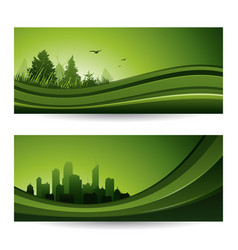 Fresh green abstract nature banner with trees and vector
