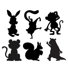 Animals in black and gray colors vector