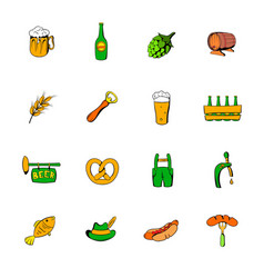 Oktoberfest set icons set cartoon vector