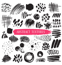 Collection of black ink abstract textures vector