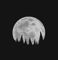forest on full moon background vector image